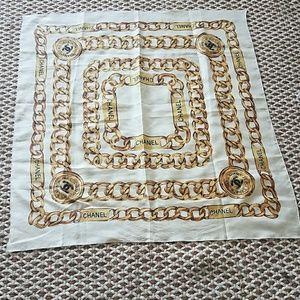 Vintage chanel scarf square cream gold